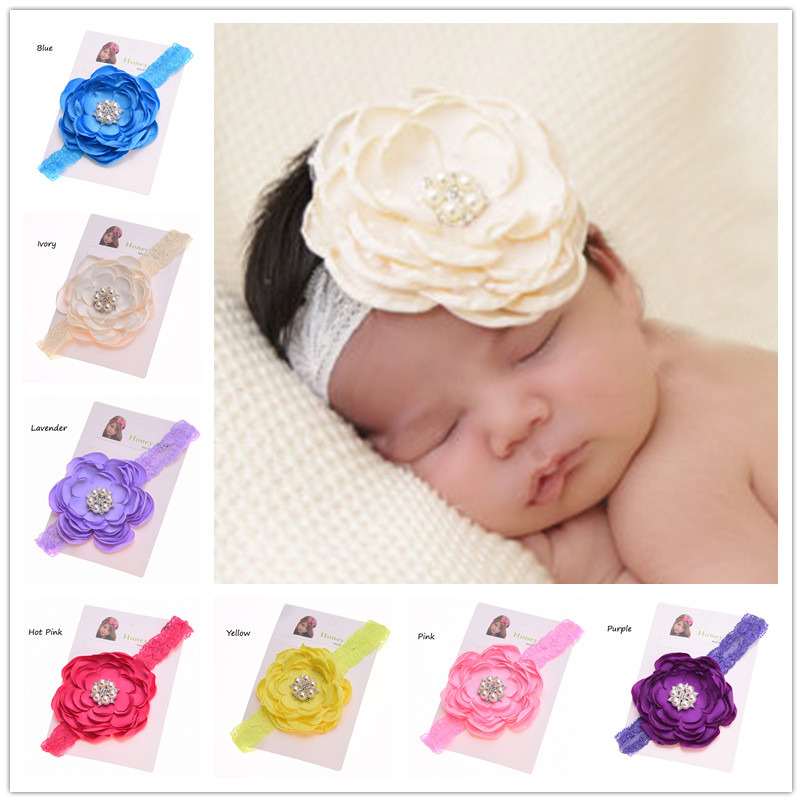 1pcs Baby flower headband Pearl Flower Newborn Baby Hair Bows hairband Baby Photo Prop Pear Flower Curly Hair Accessories(China (Mainland))