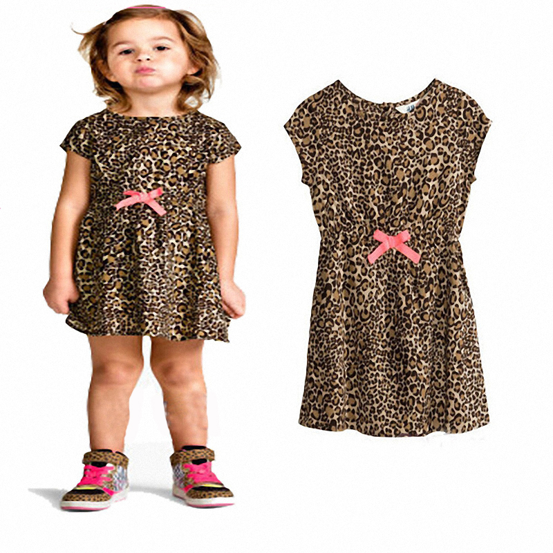 Baby Girls Casual Dress 2016 New Summer Cute Children Leopard Clothing Toddler Kids Bowknot Dresses QY-810(China (Mainland))
