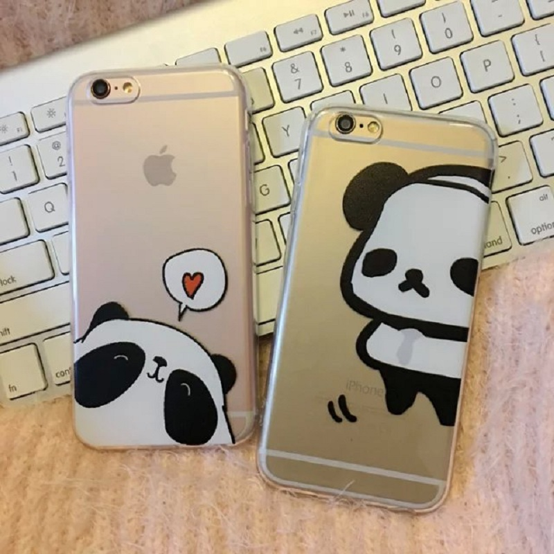 Cartoon Cat Panda Phone Cases for Iphone 6 6s 6 Plus/6s Plus Transparent Clear Soft TPU Phone Back Cover(China (Mainland))