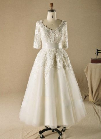 2014 hot selling new real image a line half sleeve lace for Sell vintage wedding dress