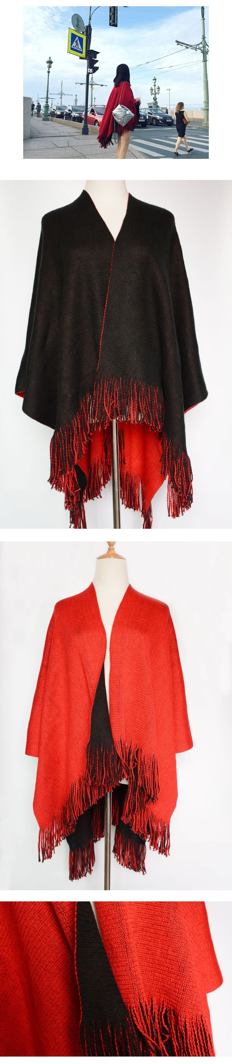 Luxury Brand Women Shawl Winter Fashion Hot Scarf For Womens Large Tassel Woolen Black And Red Dual Purpose British Shawl