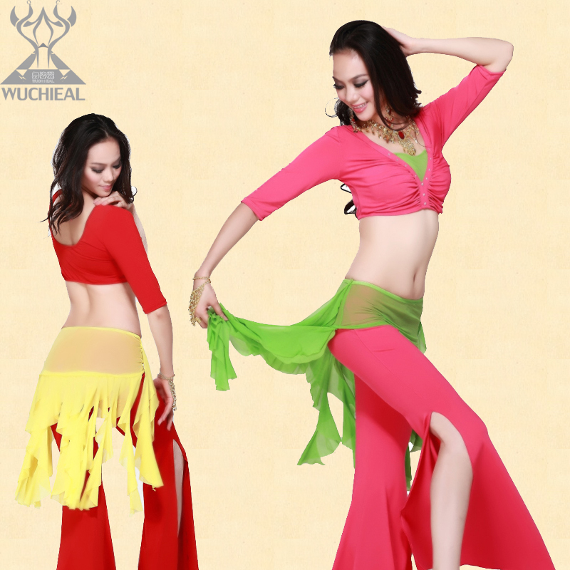 e wing summer belly dance set new acrobatics clothing five points short sleeved pants suit dress slit hit color practice(China (Mainland))