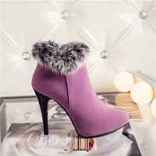 Meotina Sexy Vrouwen Laarzen Winter Hoge Hakken Enkel Laarzen Vrouwen Herfst Dames Korte Laarzen Sneeuw Bont Zip Wit Rood big Size 11 45(China)