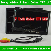 2-way video car monitor 7 Inch Color TFT LCD Display DC 12V Car Rear View Monitor For DVD VCD Reversing Camera 2-way video