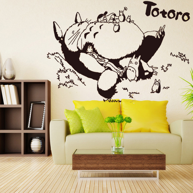 Totoro vinyl wall decal japanese cartoon totoro wall for Decoration autocollant mural