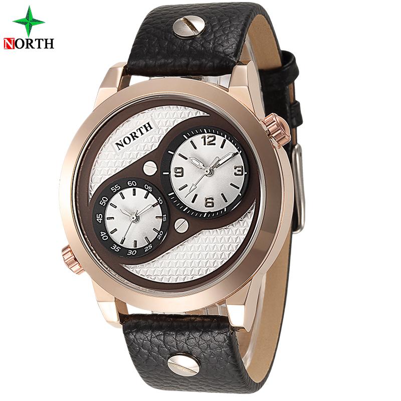 NORTH Men Sport Watch 2016 Two Time Watch Casual Genuine Leather Luxury Brand Quartz-Watch Waterproof Sport Wristwatches Men TAG(China (Mainland))