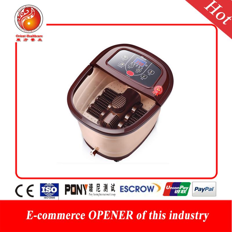 Fully-automatic heated electric footbath massager Healthy automatic foot massage bath heating bubble footbath deep bucket(China (Mainland))
