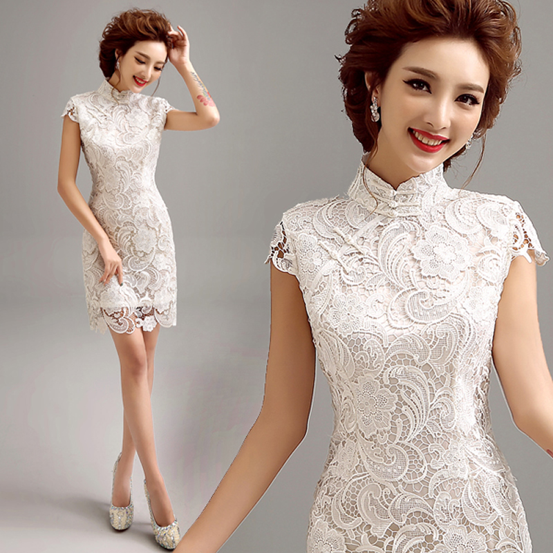 2016 Fashion White Lace Qipao Short Cheongsam Dress Modern Qi Pao Chinese Traditional Dress Oriental Dresses Robe Chinoise(China (Mainland))