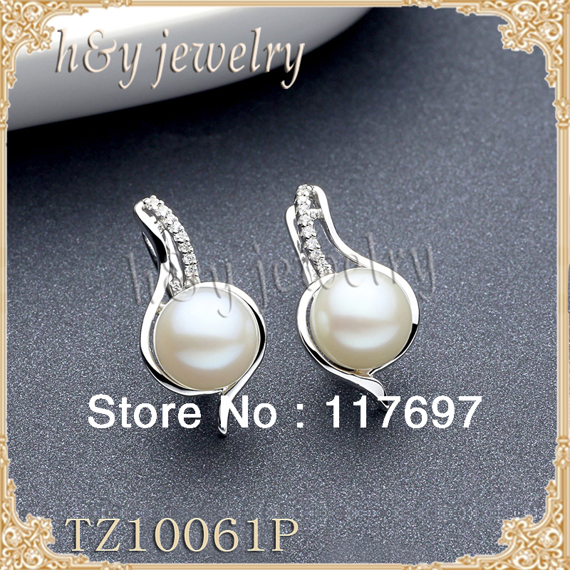sterling silver ,9MM-9.5MM AAA grade natural pearll english lock stud earrings,with zircon,TZ10061EB, shipping free<br><br>Aliexpress