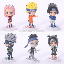 Buy 6pcs/set Anime Cartoon Naruto Q version Sakura Sasuke Kakashi PVC Model Toys Figure Christmas Gifts Kids NTFG018 for $10.07 in AliExpress store