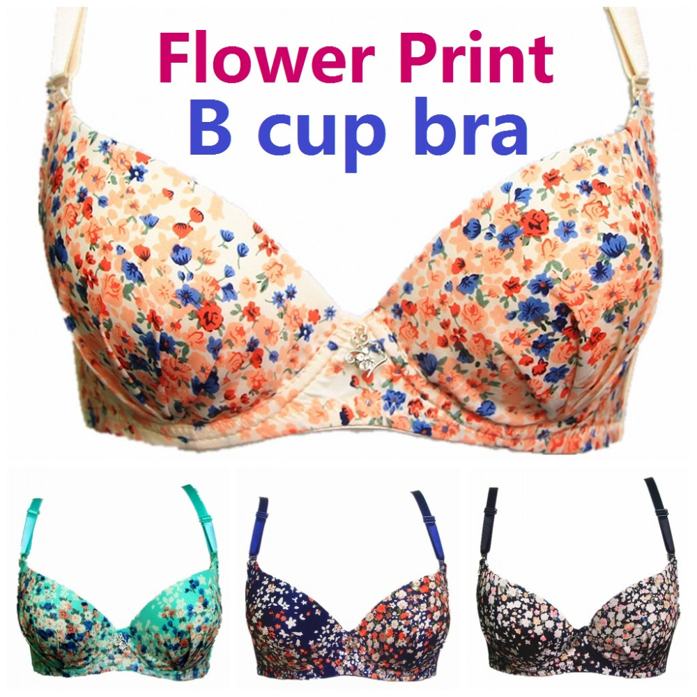 2016 New Arrivals High Quality Sexy Style B Cups Push up Bras Women Underwear Flower Print Sexy Lingerie Bra Intimates H159(China (Mainland))