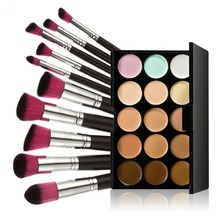 Buy Hot 15 Colors Pro Makeup Concealer Cream Palette Pressed Powder Contouring Cosmetic Palette 10pcs Face Blush Makeup Brushes for $13.62 in AliExpress store