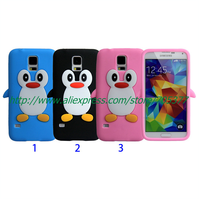 cute 3D Penguin Cartoon Soft Silicone cover case for
