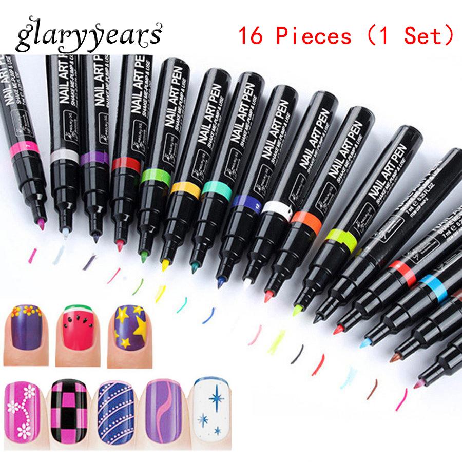 New 16 Pieces/set Nail Art Pen Beauty Women Manicures Tool Diy Polish Painting Drawing Non-Toxic Nail Care Art Pen 16 Colors 7ml(China (Mainland))