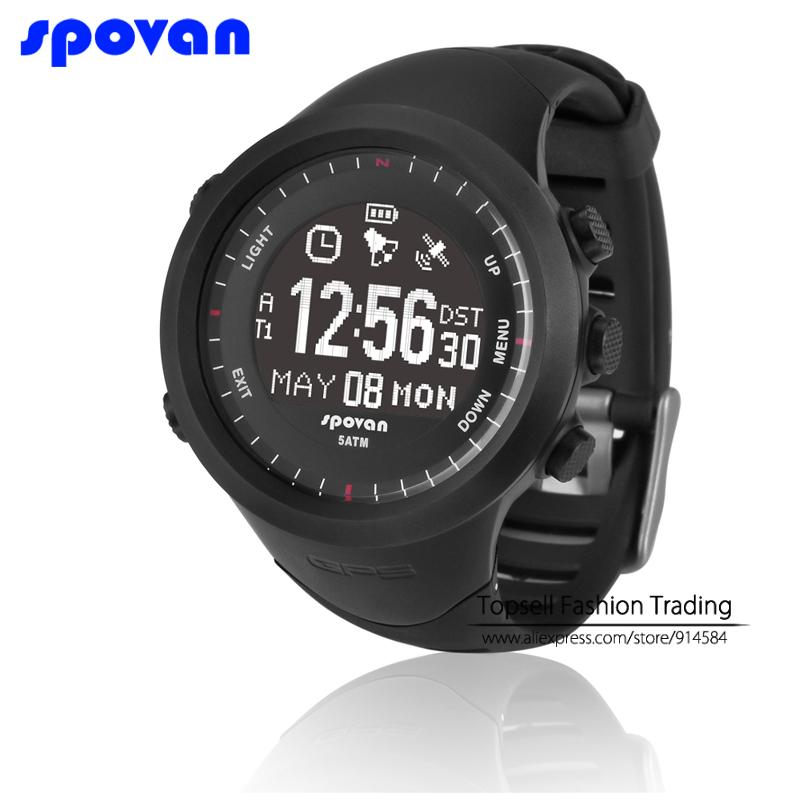 GPS Navigation/ Heart Rate Monitor/ Compass/Auto Time Zone/ Rechargeable/ Pedometer Dual Time Spovan Sports Watch(China (Mainland))
