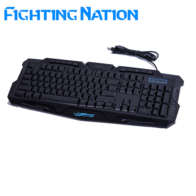 Fighting Nation Russian backlit gaming keyboard gamer led backlight 3color breathing switchable light wired USB for computer mac(China (Mainland))