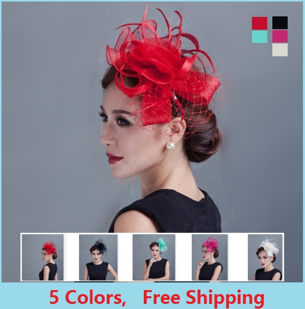 Ladies fancy races royal wedding hats and fascinators feather hair accessories women party tocados sombreros bodas sinamay hats(China (Mainland))