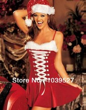Hot Selling New Fashion Red V-neck and laced Cute Dress Holiday Clothes Christmas Costume(China (Mainland))