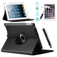 For Case Apple iPad 2/3/4 PU Leather Smart Stand Flip Case Cover 360 Rotating+Premium Tempered Glass Screen Protector+Stylus Pen(China (Mainland))