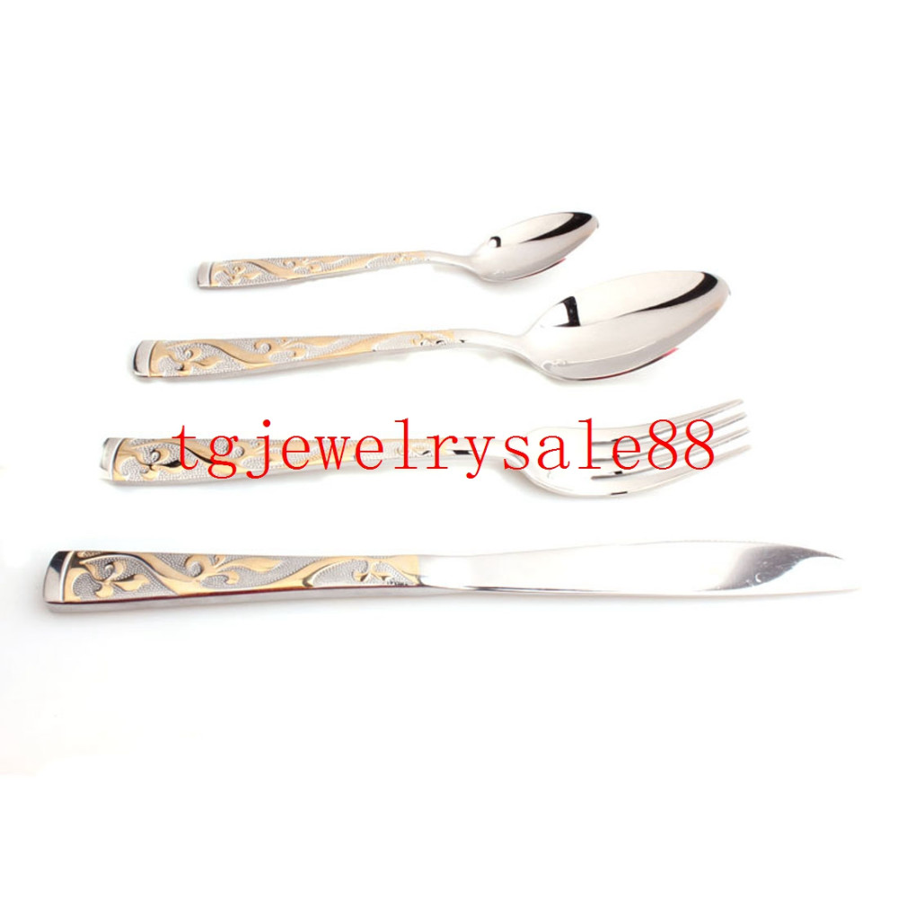 Buy Top Polishing Silver Gold Tone Flower Pattern Stainless Steel Tableware Sets Dinner Service 4pcs/sets Fork/Spoon/Knife Flatware cheap