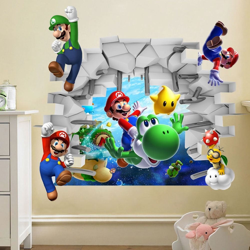 tapeta 3d super mario naklejka do pokoju dziecka new super mario bros wall stickers useful ideas