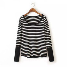 Women stripe knitted pullover slim sweater O-neck long sleeve back button knitted tops casual street wear tops SW725(China (Mainland))