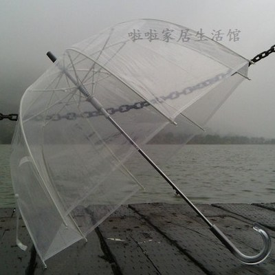 Clear Plastic Dome Bubble Long Handle Umbrellas Apollo Transparent Auto Open Mushroom Umbrella + Free Shipping(China (Mainland))
