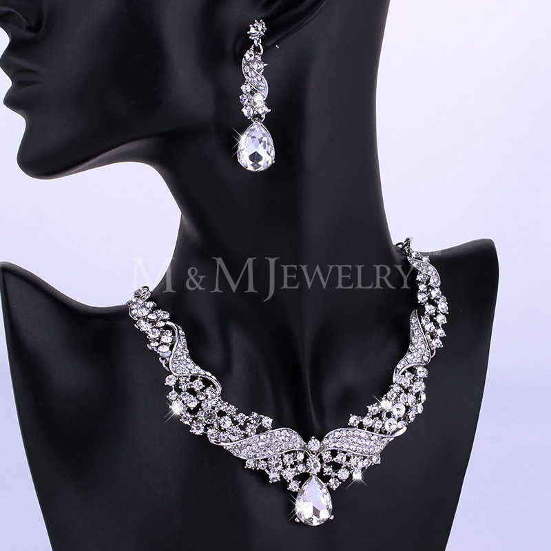 Real Luxurious Angel Wings Crystal Imitated Gemstone Wedding Jewelry Sets including Necklace and Earrings TL006