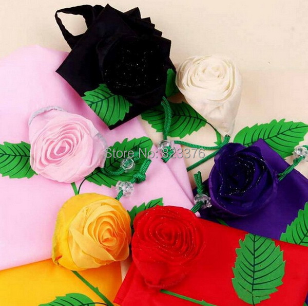 DHL Freeshipping 100pcs big size 38*58cm Cute Rose flower wedding gift Bags Eco Reusable Shopping Bag Foldable Bag(China (Mainland))