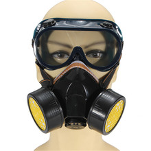 Hot Sell High Quality Dual Anti-Dust Spray Paint Industrial Chemical Gas Respirator Mask Glasses Set Black New(China (Mainland))