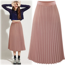 2016 New Summer High waist Waisted Long tulle midi pleated woman skirt Chiffon Female Slim skirts womens faldas cortas