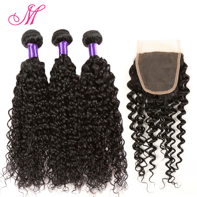 Grade 8A Malaysian Curly Hair With Closure Malaysian Virgin Hair 4 Bundles With Lace Closure Grace Hair Products With Closure