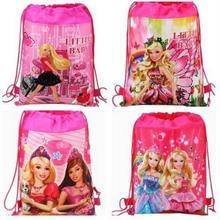 4 Pcs Barbie Princess Drawstring Boys Girls Cartoon School Bag Children Printing School Backpacks Gifts for Birthday Party Bags(China (Mainland))
