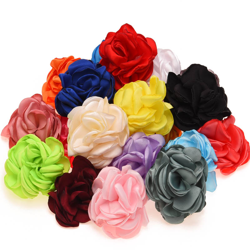 10PCS Burning Flowers Satin Roll Flower Artificial Rose Flower for Hair Accessories Baby Girls Rosette flower for Hair bows(China (Mainland))
