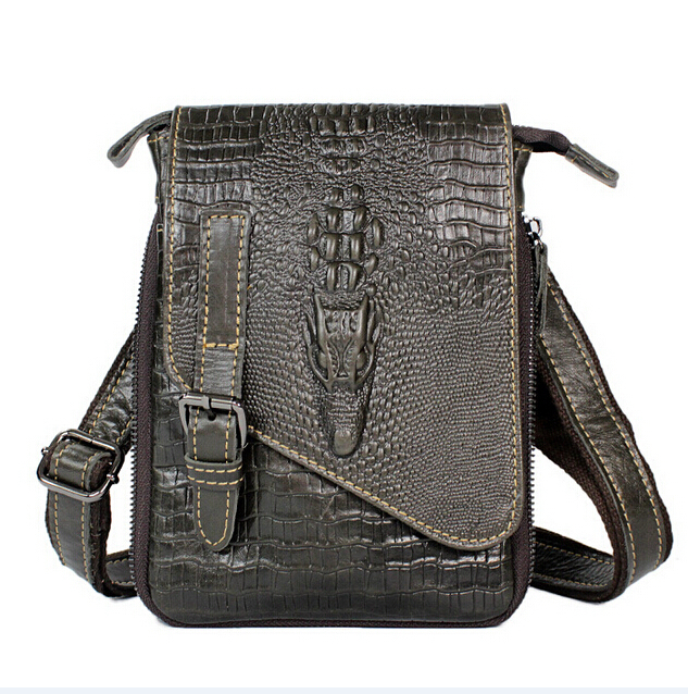 Genuine Leather men bag vintage men Messenger bags crossbody Bag coffer Fake Crocodile mobile bags men's travel handbag 2015(China (Mainland))