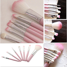 7Pcs Pro Pink Makeup Brush Set Eyeshadow Cosmetic Tools Eye Face Beauty Brushes