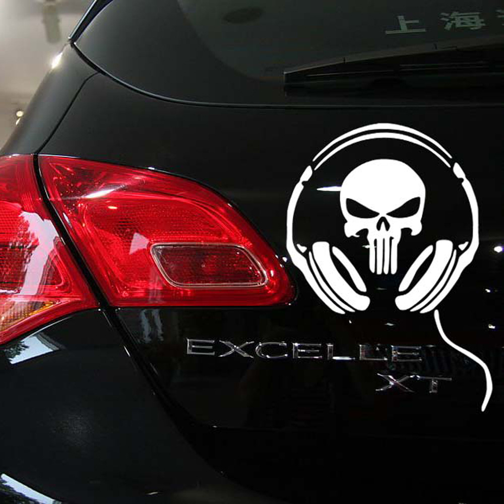2pcs Cool SKULL Earphone car styling vinyl sticker decals reflective cool skull punisher motorcycle DIY sticker universal fit(China (Mainland))
