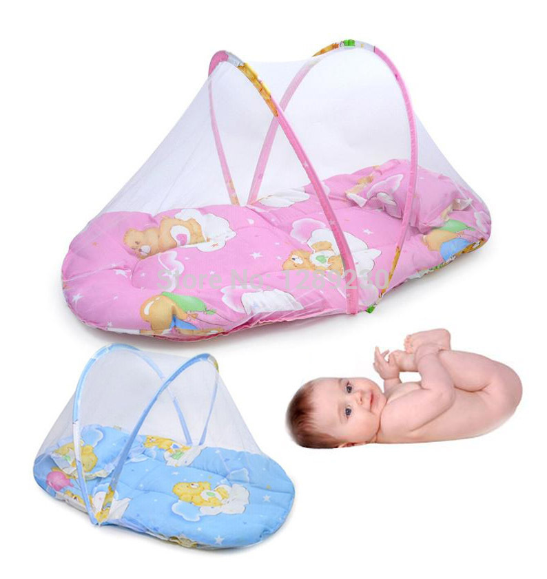 Infant baby bed portable mosquito net folding baby crib for Baby crib net