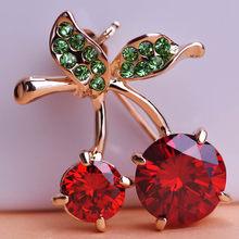 Mewah Pernikahan Red Cherry Perhiasan Emas-Warna Kristal Aksesoris Bros Korsase Topi Syal Klip Jilbab Pin untuk Wanita Anak(China)