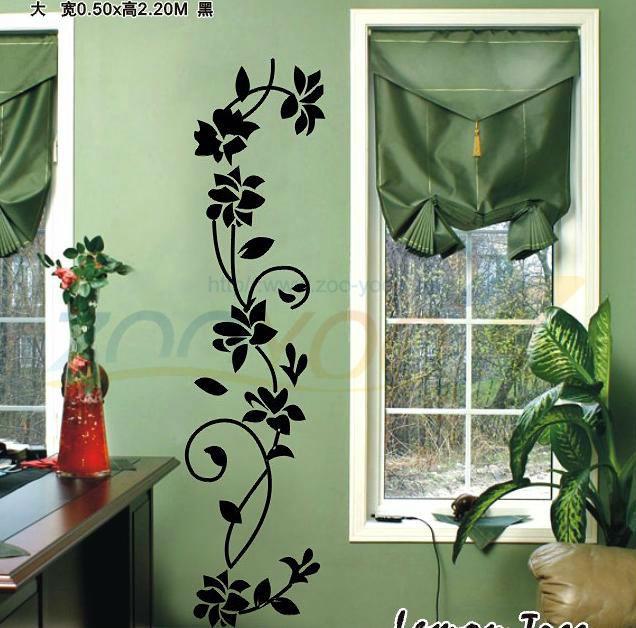 Классическая черные цветы вайн творческий обои отличительные знаки искусство пвх материал для украшения дома ZYVA-8139 стикер стены