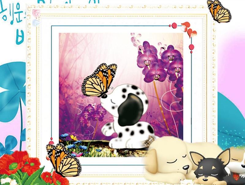 YGS-9 DIY 5D Diamond Painting Cross Stitch Puppy Love Romantic Kiss Round Diamond Embroidery Kits Diamond Mosaic Home Decoration(China (Mainland))