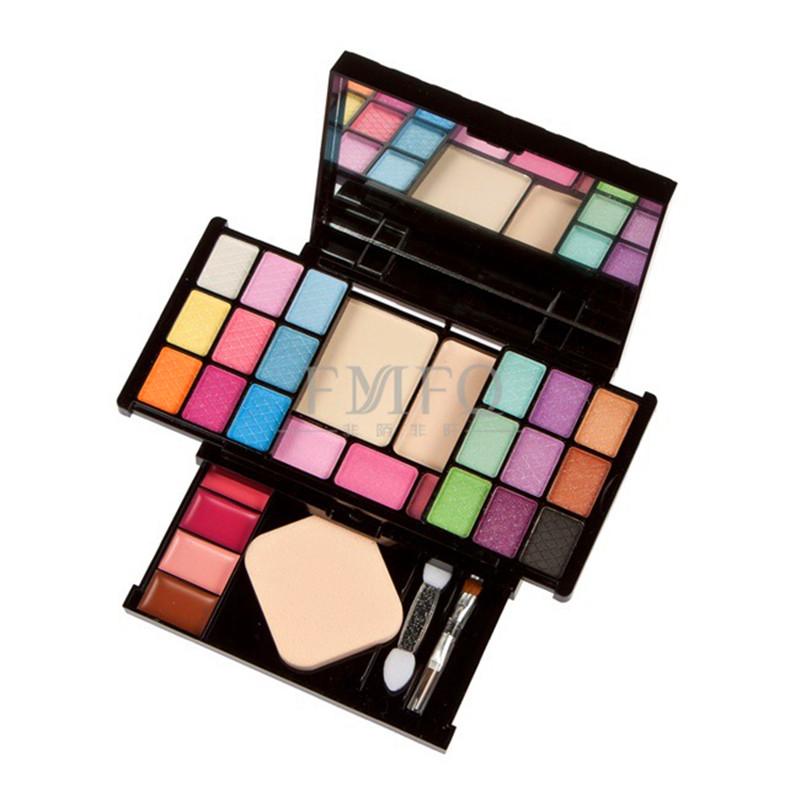 Makeup Set 18 color eye shadow +4 color lip gloss + 3 color blush + dry ,wet powder + lip,eye,shadow,blush brush+powder puff(China (Mainland))