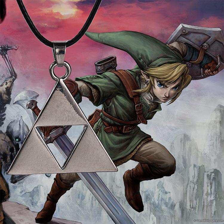 Retail 1pcs Anime The Legend of Zelda The Triforce Necklace Metal Figure Pendant Necklace Wholesale High