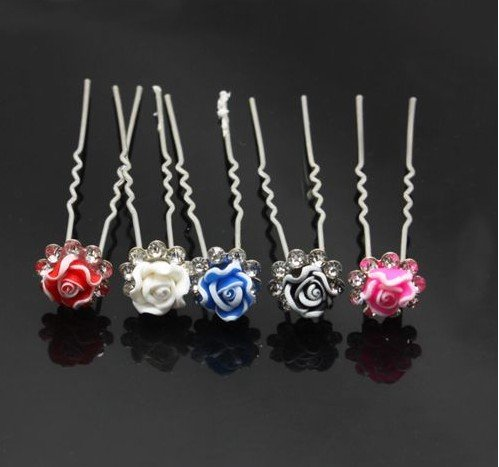 200pic/lot Free Shipping Rose Flower Hair Pins, Party Prom Fashion Hair Accessories. U Shape Hair Clips Cheap Wholesale(China (Mainland))