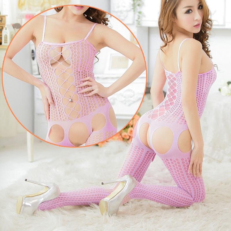 Women's Sexy Stripes Hollow Net Bodystocking Bodysuit Lingerie Jacquard Leotard For Free Shipping #Q01035(China (Mainland))