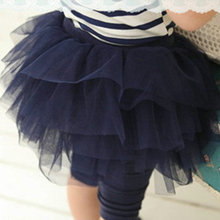 Lovely Baby Kids Girl Culotte Leggings Tulle Tutu Skirt Cropped Capri Pant