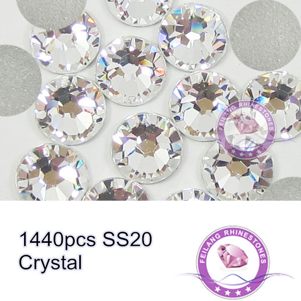 1440pcs High Quality Flatback Glass Material Clear Crystal SS20 Rhinestones For Nail Art(China (Mainland))