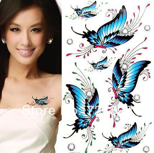 50PCS fashion waterproof men women temporary butterfly dragon body art Flowers lips glitter Tattoo stickers paper Free shipping(China (Mainland))