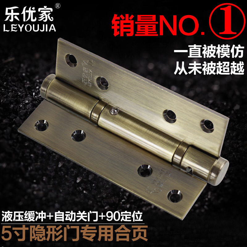 5 6-inch stainless steel hydraulic buffering hinge positioning invisible door closers automatic closing with self-closing spring(China (Mainland))