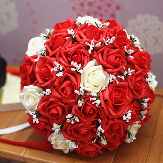 2017 cheap wedding bridesmaid bridal bouquet new red ivory. Black Bedroom Furniture Sets. Home Design Ideas